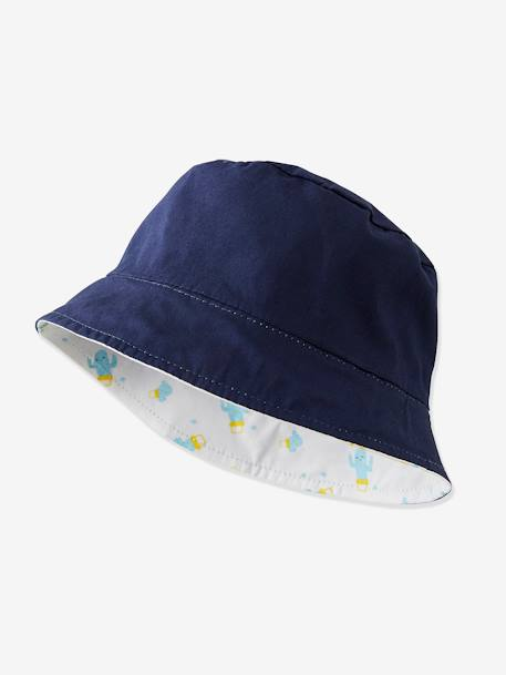 Reversible Bucket Hat for Newborn Babies - blue light striped, Baby