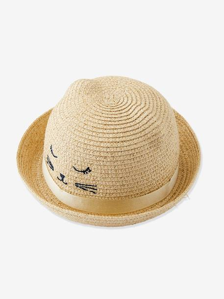 Embroidered Iridescent Hat, Decorative Cat & Ears, for Girls BEIGE LIGHT SOLID WITH DESIGN - vertbaudet enfant