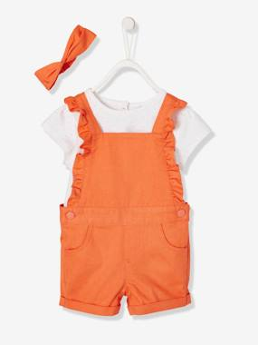 Baby-Dungarees & All-in-ones-T-Shirt + Dungarees + Headband Set for Babies
