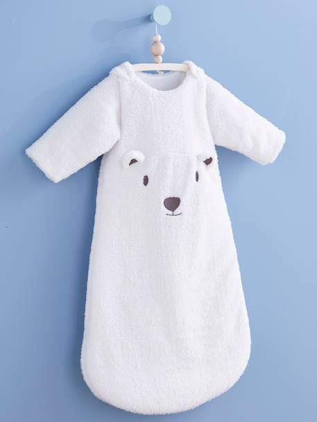 Sleep Bag with Removable Sleeves, Bear Theme WHITE LIGHT SOLID WITH DESIGN - vertbaudet enfant