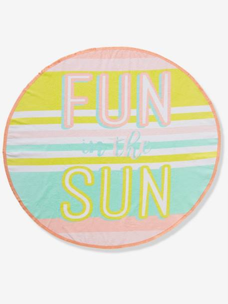 Round Beach Towel, Fun In the Sun PINK LIGHT ALL OVER PRINTED - vertbaudet enfant