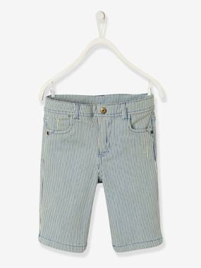 Boys-Shorts-Denim Bermuda Shorts, Striped, for Boys