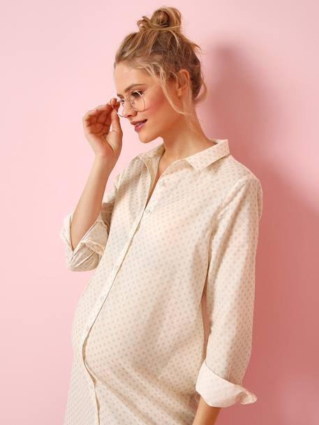 Maternity and Nursing Nightie WHITE LIGHT ALL OVER PRINTED - vertbaudet enfant