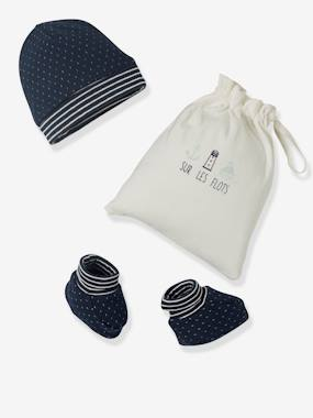 Baby-Beanie & Booties Set with Bag for Newborn Babies