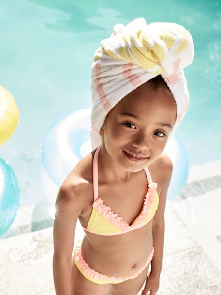 Bikini with Ruffles, for Girls YELLOW LIGHT SOLID WITH DESIGN - vertbaudet enfant