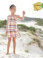 Checked Dress, Straps with Tassels, for Girls  - vertbaudet enfant