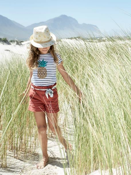 Panama-Style Hat for Girls, with Pineapple Print BEIGE MEDIUM ALL OVER PRINTED - vertbaudet enfant