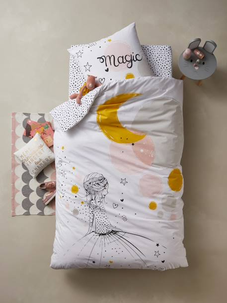 Fitted Sheet for Children, PRINCESSE & PETITS POIS WHITE LIGHT ALL OVER PRINTED - vertbaudet enfant