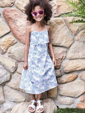 Dresses-Long Dress with Flower Print, for Girls