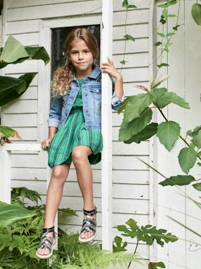 Dresses-Striped Dress with Ruffled Sleeves, for Girls