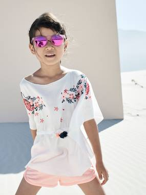 Girls-Blouses, Shirts & Tunics-Embroidered Beach Tunic for Girls