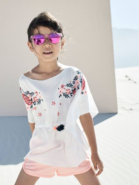 Embroidered Beach Tunic for Girls WHITE LIGHT SOLID WITH DESIGN - vertbaudet enfant
