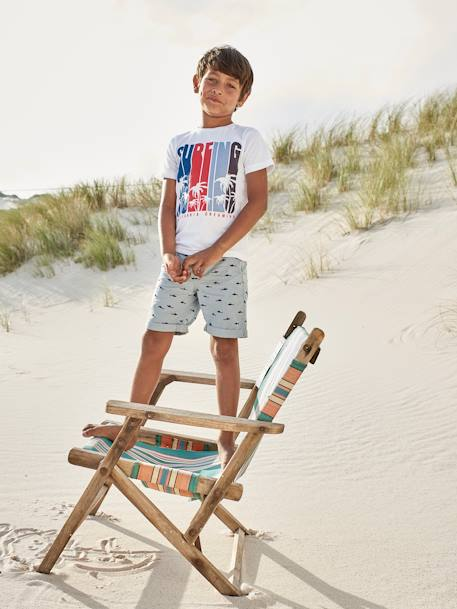 Bermuda Shorts with Print, for Boys BEIGE MEDIUM ALL OVER PRINTED+BLUE MEDIUM ALL OVER PRINTED+GREEN DARK ALL OVER PRINTED+ORANGE MEDIUM ALL OVER PRINTED - vertbaudet enfant