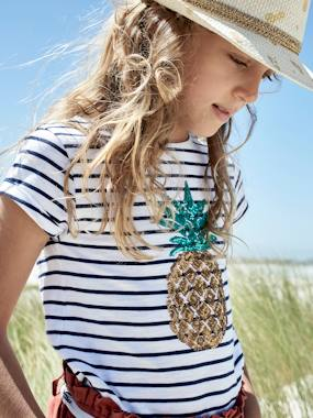 Bonnes affaires-Girls-Tops-Striped T-Shirt with Sequinned Pineapple, for Girls