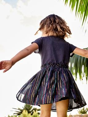 Vertbaudet Collection-2-in-1 Dress with Multicoloured Iridescent Stripes, for Girls