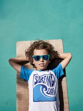 Boys-Tops-T-Shirts-Two-Tone T-Shirt with Surf Motif, for Boys