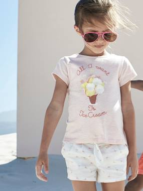 Collection Vertbaudet-T-shirt fille motif glace fleurs en relief