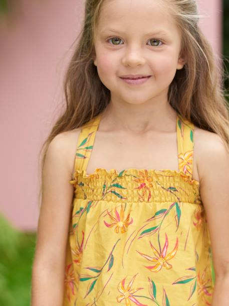 Smocked Top for Girls, with Exotic Motifs YELLOW DARK ALL OVER PRINTED - vertbaudet enfant