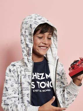 Summer collection-Boys-Cardigans, Jumpers & Sweatshirts-Jacket with Hood, Zip & Surfing Motifs for Boys