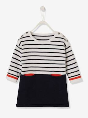Baby-Dresses & Skirts-Knitted Striped Dress for Baby Girls