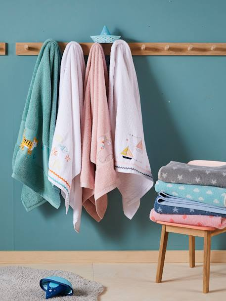 Unicorn Bath Towel PINK LIGHT SOLID WITH DESIGN - vertbaudet enfant