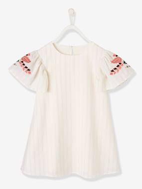 Mid season sale-Girls-Dresses-Dress with Iridescent Stripes & Embroidered Sleeves, for Girls