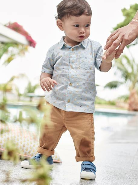 Short-Sleeved Printed Shirt for Baby Boys BLUE LIGHT ALL OVER PRINTED - vertbaudet enfant