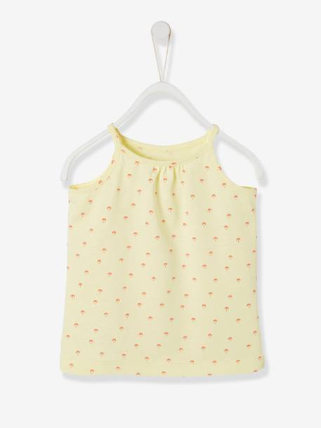 Top for Baby Girls WHITE LIGHT SOLID WITH DESIGN+YELLOW LIGHT ALL OVER PRINTED - vertbaudet enfant