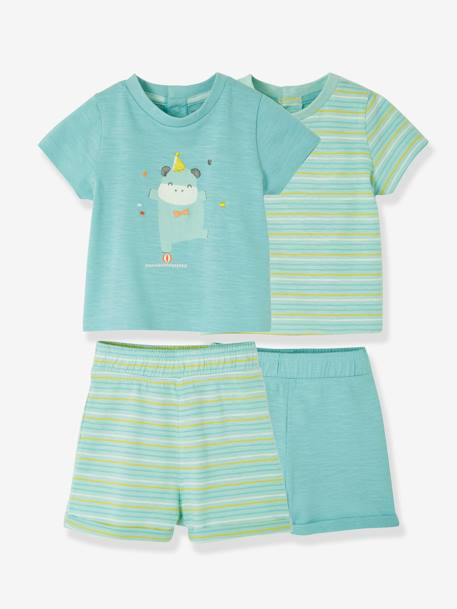 Set of Two 2-Piece Cotton Pyjamas, for Babies BLUE MEDIUM TWO COLOR/MULTICOL - vertbaudet enfant