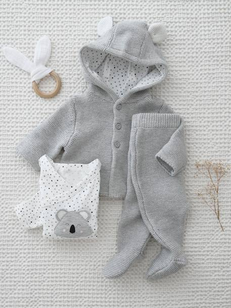 3-Piece Outfit Gift for Newborn Babies BLUE DARK SOLID+GREY LIGHT SOLID+PINK LIGHT SOLID - vertbaudet enfant