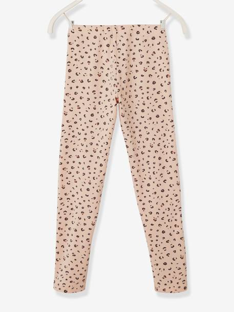 Leggings with Leopard Motif, for Girls BEIGE LIGHT ALL OVER PRINTED+PINK LIGHT ALL OVER PRINTED - vertbaudet enfant