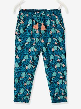 2abde6ce81 TROUSERS - blue dark all over printed · Vertbaudet Collection-Girls-TROUSERS