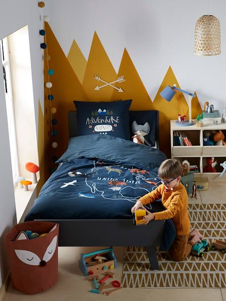Duvet Cover + Pillowcase Set for Children, TRAPPEUR BLUE DARK SOLID WITH DESIGN - vertbaudet enfant