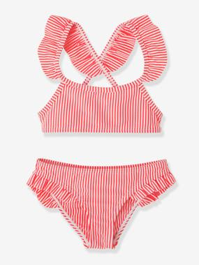 Girls-2-Piece Striped Bikini with Ruffles for Girls