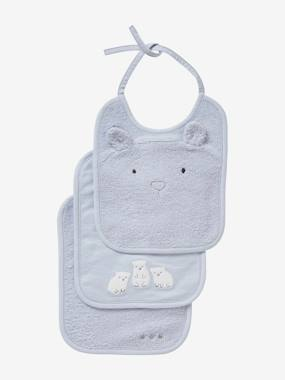 Vertbaudet Collection-Nursery-Set of 3 Bibs for Babies, Embroidered Animals