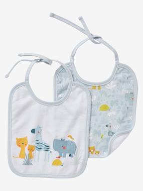 Nursery-Mealtime-Bibs-Pack of 2 Bibs for Newborn Babies, with Animals, by VERTBAUDET