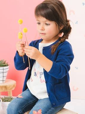 Girls-Cardigans, Jumpers & Sweatshirts-Cardigans-Cardigan with Pointelle Knit Butterflies for Girls