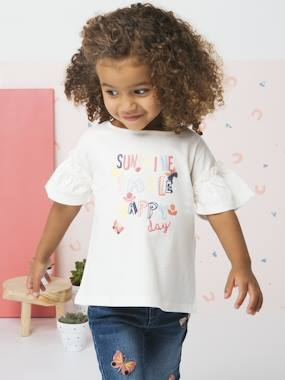 Girls-Tops-T-Shirt with Ruffles on the Sleeves for Girls