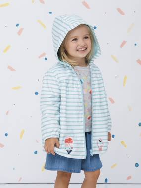 Vertbaudet Sale-Girls-Striped Windcheater with Hood, for Girls