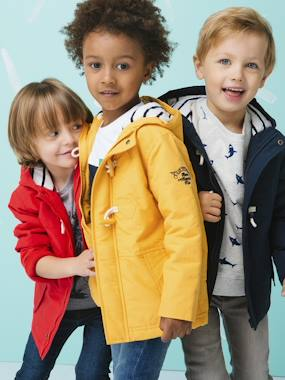 Coat & Jacket-Duffle Coat-Type Parka with Hood, for Boys