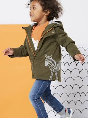 Mid season sale-Boys-Coats & Jackets-Hooded Parka with Zebra Print for Boys