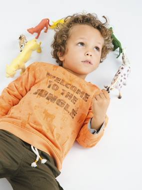 Summer collection-Boys-Cardigans, Jumpers & Sweatshirts-Sweatshirt Printed with Jungle Animals, for Boys
