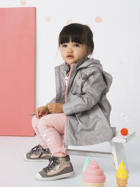 Vertbaudet Collection-Girls-Windcheater with Embroidered, Iridescent Unicorn for Girls