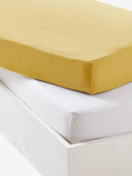 Lot de 2 draps-housses bébé en jersey extensible - jaune curry, Linge de  lit & Déco
