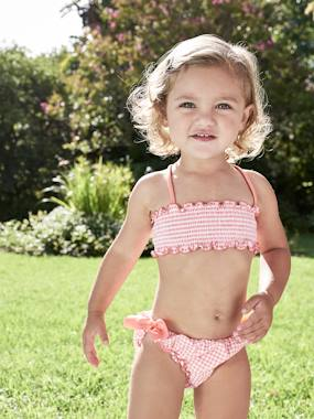 Vertbaudet Sale-Baby-Smocked Bikini with Frills, for Baby Girls
