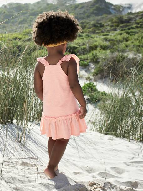 Dress with Ruffles, for Baby Girls ORANGE BRIGHT SOLID+WHITE LIGHT ALL OVER PRINTED - vertbaudet enfant