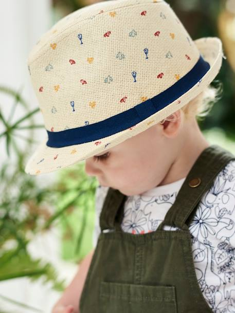 Straw Hat with Stylish Motifs, for Baby Boys BEIGE LIGHT SOLID WITH DESIGN - vertbaudet enfant