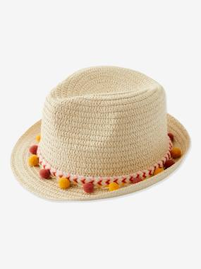 Girls-Accessories-Hats-Panama-Type Straw Hat with Ribbon & Pompons for Girls