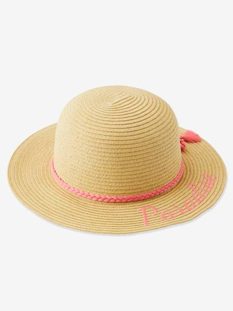 Embroidered Straw Hat for Girls BEIGE MEDIUM SOLID WITH DECOR - vertbaudet enfant