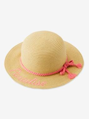 Girls-Accessories-Hats-Embroidered Straw Hat for Girls
